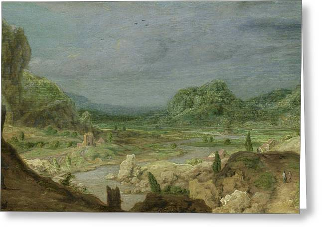River Valley Greeting Card by Hercules Segers