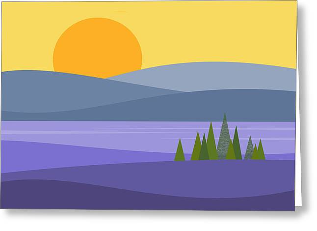 River Valley Sunrise - Sunrise Greeting Card by Val Arie
