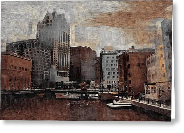 River View Aged Greeting Card by Anita Burgermeister