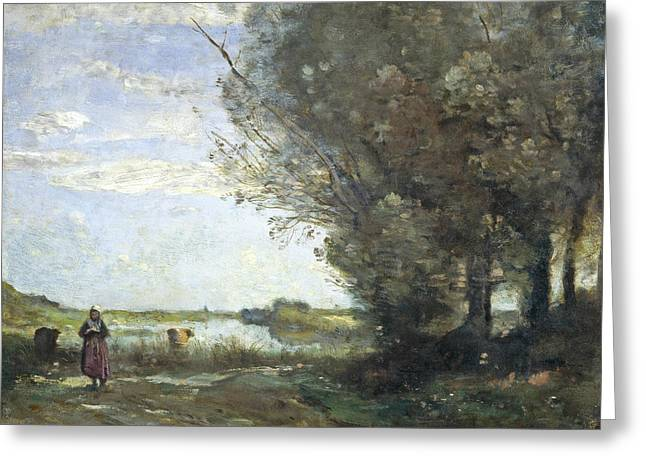 River View Greeting Card by Jean-Baptiste-Camille Corot