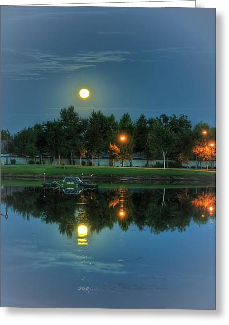 White River Scene Greeting Cards - River Walk Park Full Moon Reflection 2 Greeting Card by Connie Cooper-Edwards