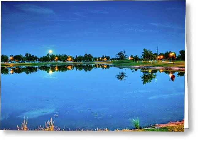River Walk Park Full Moon Reflection 3 Greeting Card