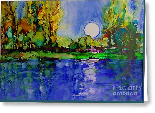 Greeting Card featuring the painting River Walk by Priti Lathia