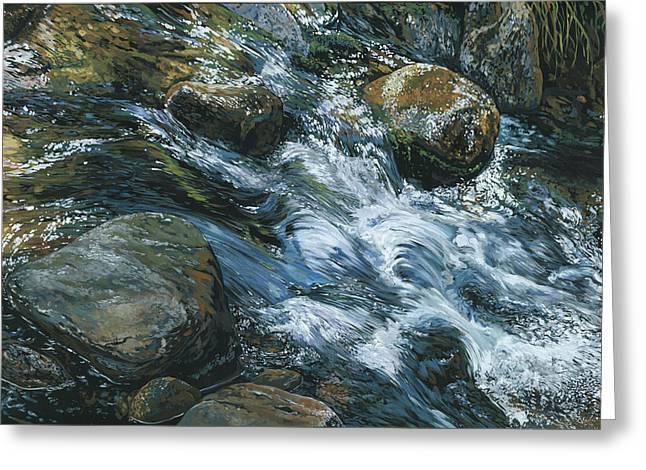 Greeting Card featuring the painting River Water by Nadi Spencer