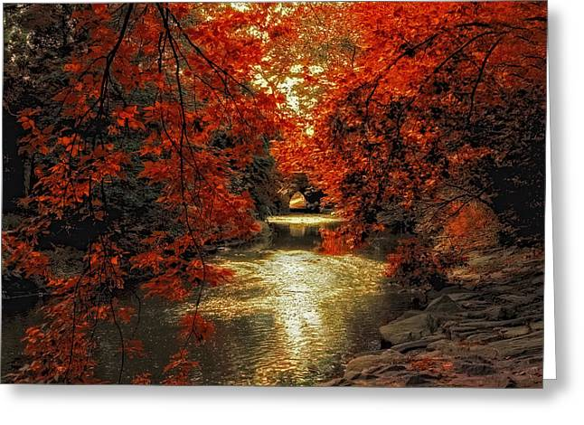 Riverbank Red Greeting Card by Jessica Jenney
