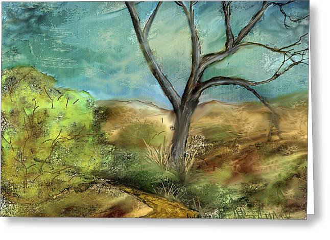 Greeting Card featuring the painting Riverbed  by Annette Berglund