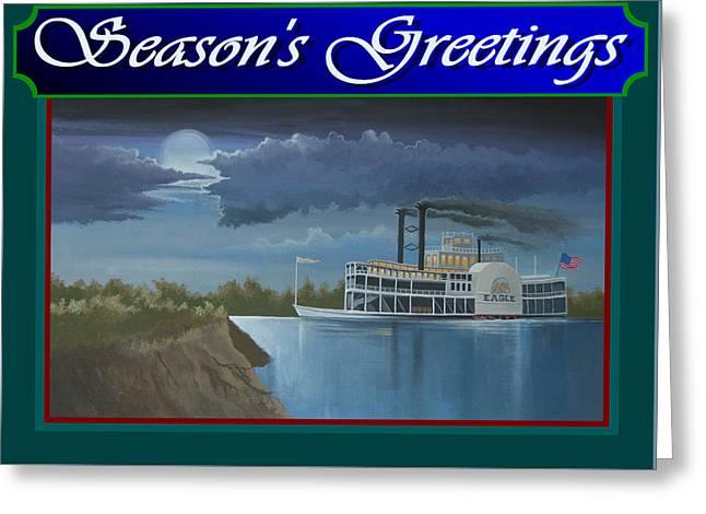 Riverboat Season's Greetings Greeting Card by Stuart Swartz