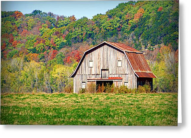 Hartsburg Greeting Cards - Riverbottom Barn in Fall Greeting Card by Cricket Hackmann