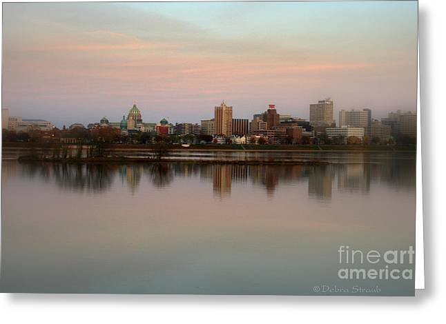 Riverfront At Dusk Greeting Card by Debra Straub
