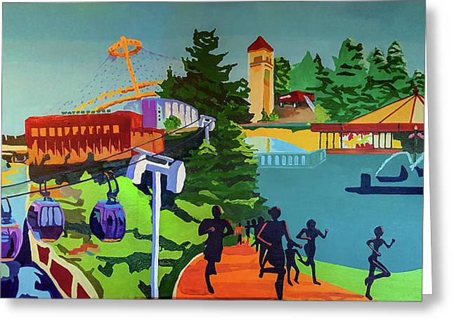 Riverfront Park In Color Greeting Card