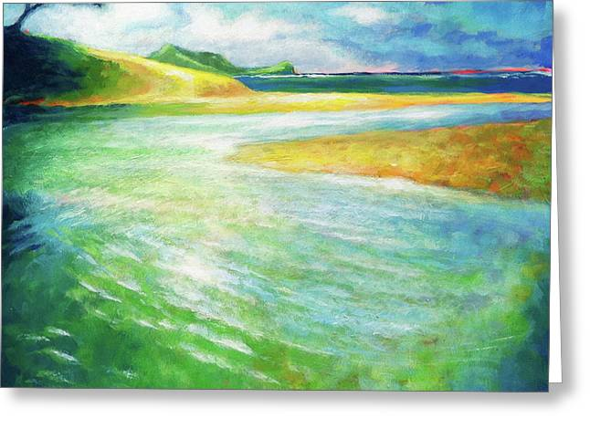 Greeting Card featuring the painting Rivermouth by Angela Treat Lyon