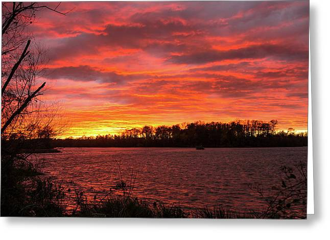 Rivers Bend Sunset Greeting Card by Jemmy Archer