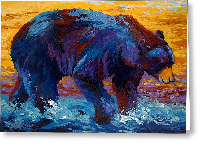 Wild Bears Greeting Cards - Rivers Edge II Greeting Card by Marion Rose