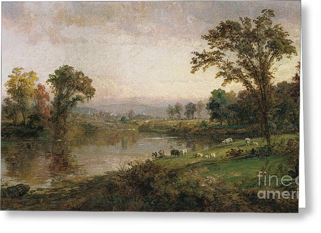Sheep Greeting Cards - Riverscape in Early Autumn Greeting Card by Jasper Francis Cropsey