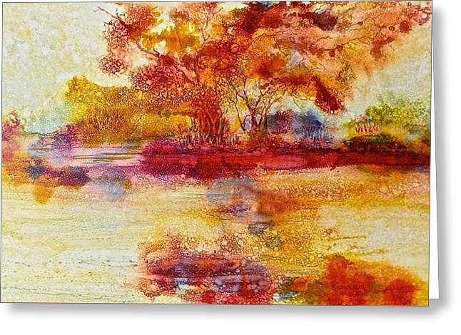 Riverscape In Red Greeting Card
