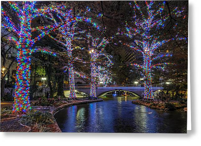 Greeting Card featuring the photograph Riverwalk Christmas by Steven Sparks