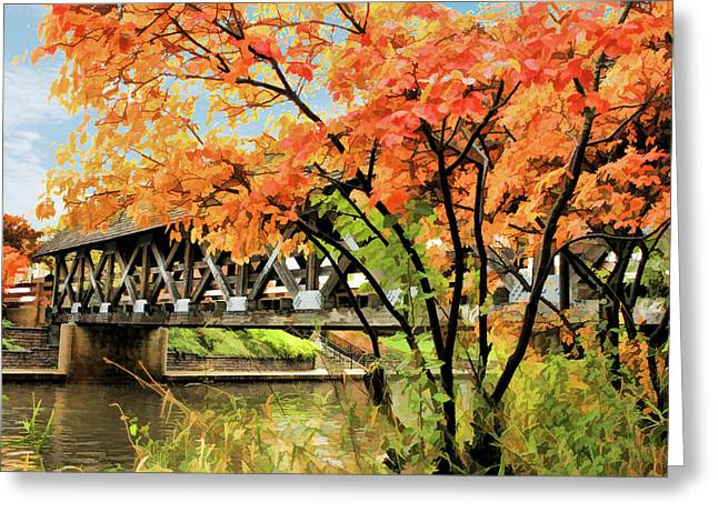 Greeting Card featuring the painting Riverwalk Covered Bridge by Christopher Arndt