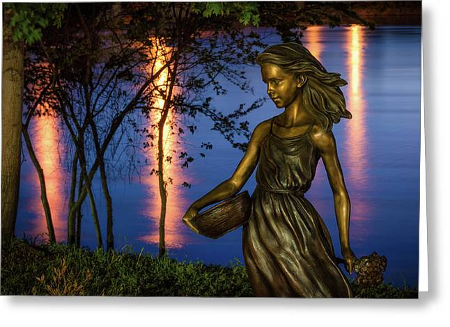 Riverwalk Girl Greeting Card by James Barber