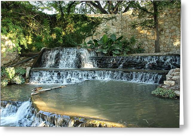 Riverwalk Waterfall Greeting Card by Dennis Stein