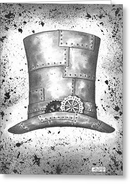 Black Top Drawings Greeting Cards - Riveting Top Hat Greeting Card by Adam Zebediah Joseph