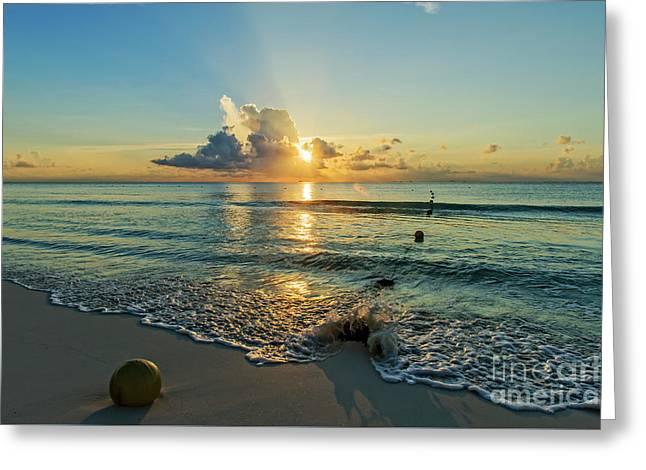 Riviera Maya Sunrise Greeting Card by Charles Dobbs