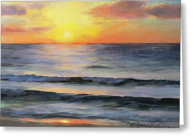 Riviera Sunrise Greeting Card by Anna Rose Bain