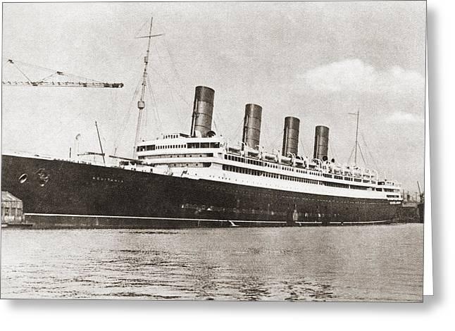Rms Aquitania, Cunard Line Ocean Liner Greeting Card by Vintage Design Pics