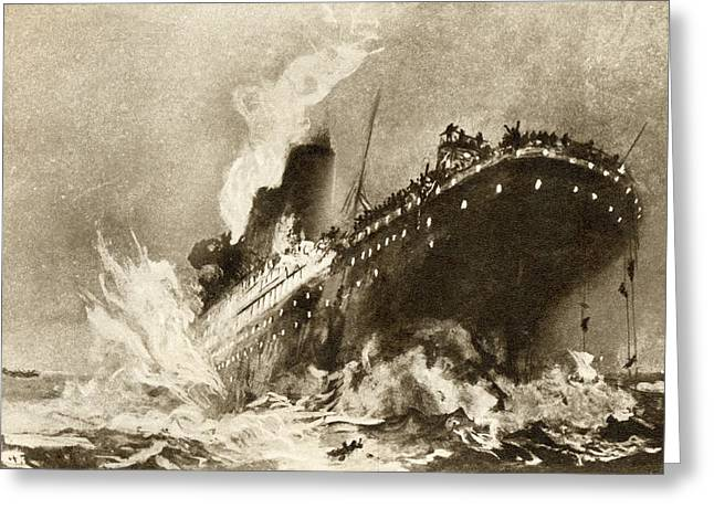 Rms Titanic Of The White Star Line Greeting Card by Vintage Design Pics