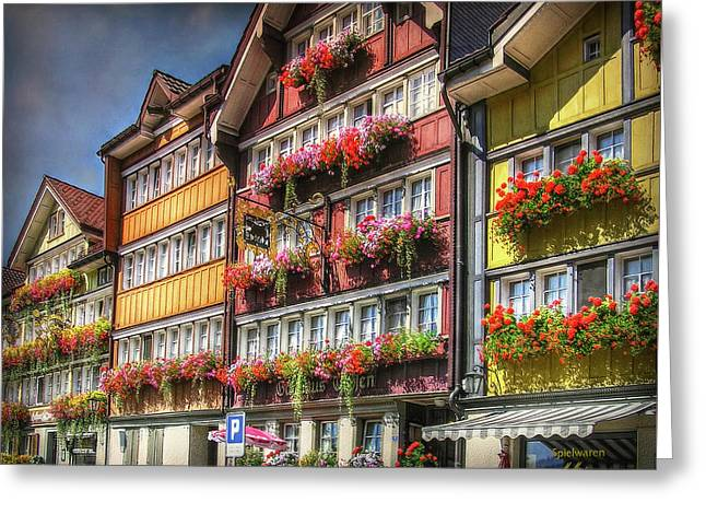 Greeting Card featuring the photograph Row Of Swiss Houses by Hanny Heim