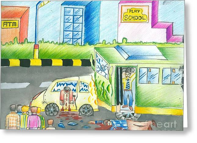 Road Accident Greeting Card by Tanmay Singh