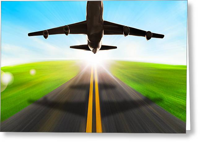 Road And Plane Greeting Card by Setsiri Silapasuwanchai