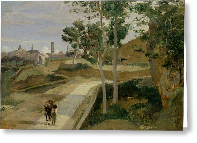 Roads Greeting Cards - Road from Volterra Greeting Card by Jean Baptiste Camille Corot
