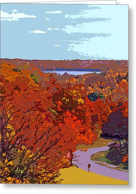 Road In Autumn Near Lake Monroe In Image Greeting Card by Paul Price