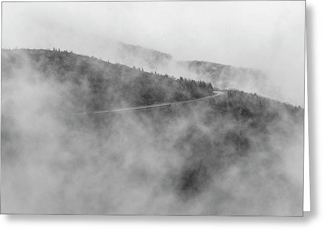 Road In Fog - Blue Ridge Parkway Greeting Card