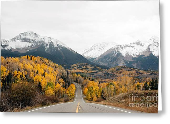 Road Into The Snow Peaks Greeting Card by Bedros Awak