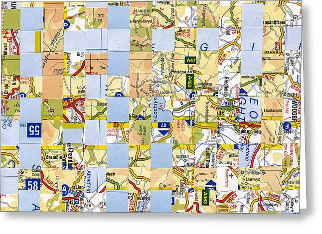 Greeting Card featuring the mixed media Road Map by Jan Bickerton