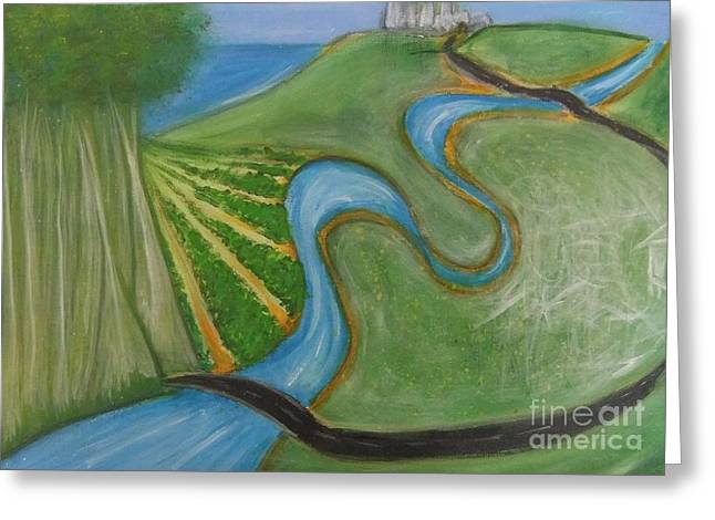 Road Map Greeting Card by Leonie Higgins Noone