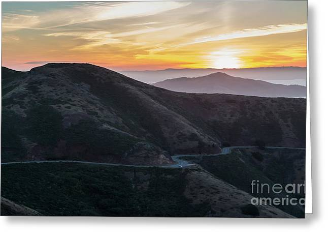 Road On The Edge Of The Mountain With Sunrise In The Background Greeting Card