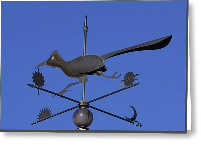 Greeting Card featuring the photograph Road Runner Weather Vane by Joan Hartenstein