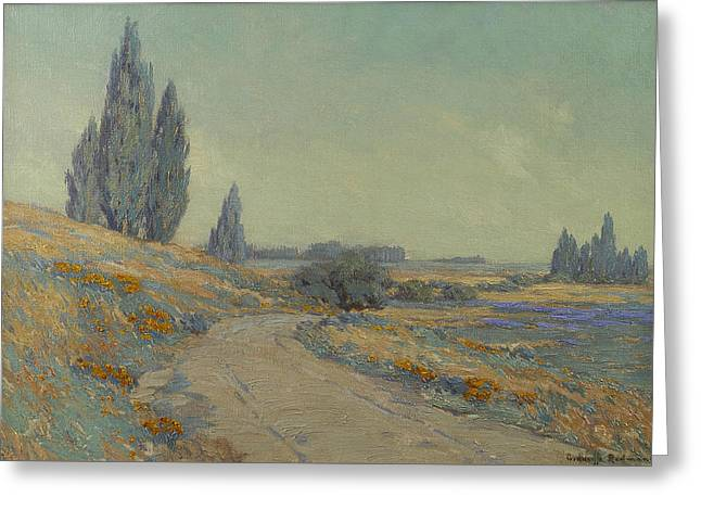 Road Through A Field Of Wildflowers Greeting Card by Granville Redmond