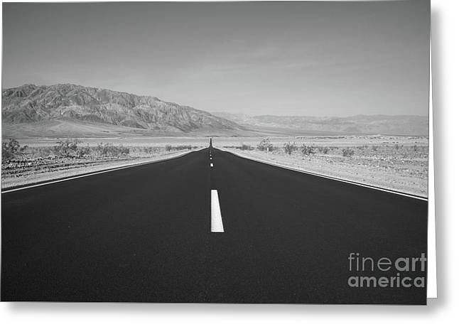 Road To Death Valley Bw Greeting Card by Michael Ver Sprill