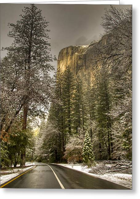 Road To El Capitan After Snow Storm At Sunrise Greeting Card
