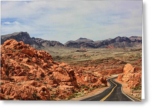 Greeting Card featuring the photograph Road To Fire by Tammy Espino