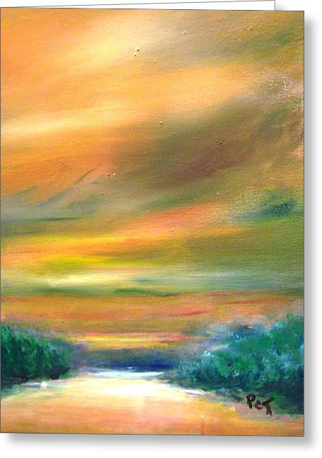 Road To The Beach At Sunset Greeting Card