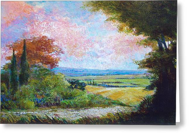 Road To The Fields Greeting Card by Dale  Witherow