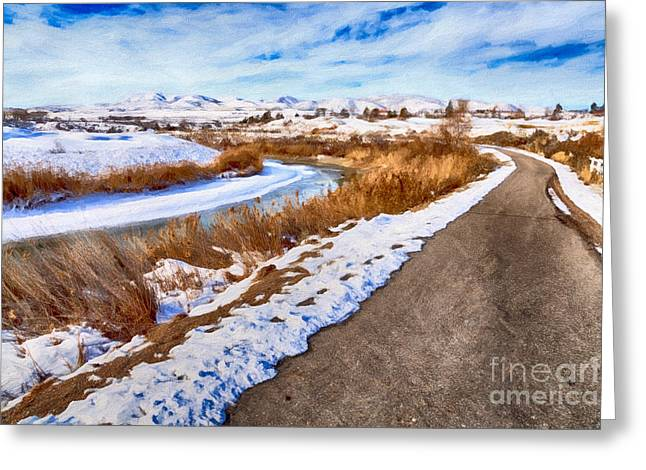 Road To The Mountains Greeting Card by David Millenheft
