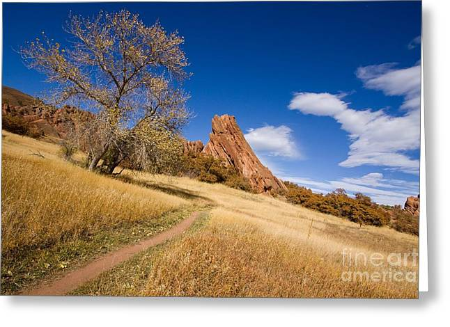 Road To The Rocky Blue Greeting Card by Andrew Serff