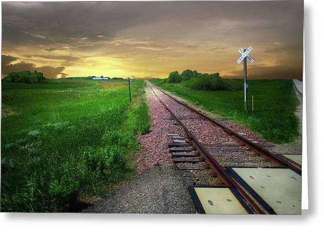 Road Track Crossing Greeting Card