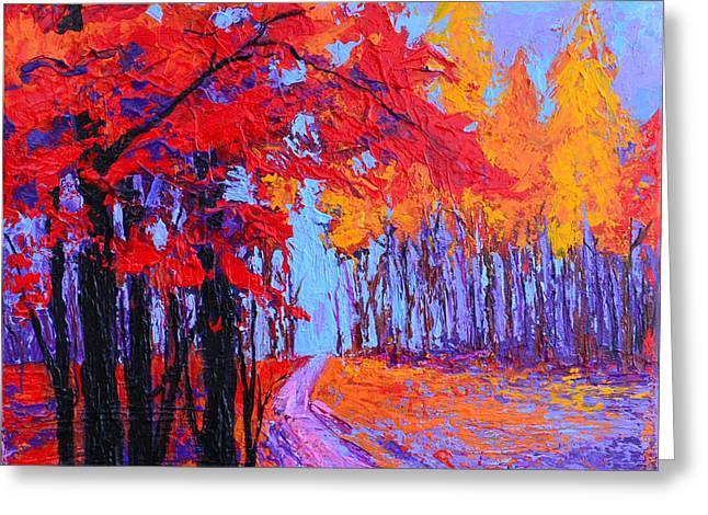 Greeting Card featuring the painting Road Within - Enchanted Forest Series - Modern Impressionist Landscape Painting - Palette Knife by Patricia Awapara