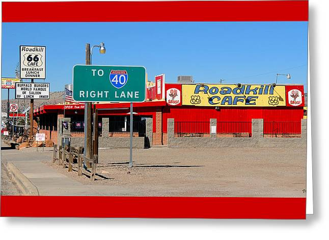 Roadkill Cafe, Route 66, Seligman Arizona Greeting Card
